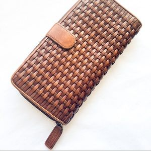 TALBOTS Brown Woven Leather Wallet